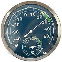 szdealhola Termómetro de Esfera Azul de Acero Inoxidable para Uso en Interiores y Exteriores, 40