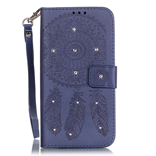 iPhone SE Hülle, iPhone 5S Hülle,iPhone 5 Hülle,SainCat Apple iPhone SE / 5S / 5 Reliefprägung(Schmetterlings-Rose,Blitz-Diamant)Ledertasche Brieftasche im BookStyle PU Leder Hülle Wallet Case Folio S Campanula-Marineblau