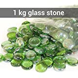 Tied Ribbons Glass Vase Filler Big Size Pebbles for Aquarium and Decoration (1 Kg, Green)