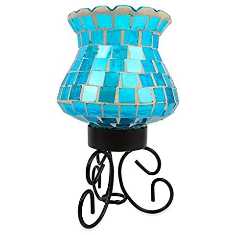 Mosaic Candle Lamp Mood Light - Decorative Multicolour Energy Saving LED Bulb. Ideal Colour Changing Wireless Table Light for Living Room or Bedroom. Flickering Candle Effect Through Mosaic Green/Blue Coloured Glass. Good Ambient Decor Multicoloured Lighting. Safe Battery Powered. Remote Control with