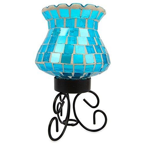 Mosaic Candle Lamp Mood Light - Decorative Multicolour Energy Saving LED Bulb. Ideal Colour Changing Wireless Table Light for Living Room or Bedroom.  Flickering Candle Effect Through Mosaic Green/Blue Coloured Glass. Good Ambient Decor Multicoloured Ligh
