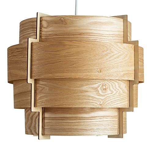 Wood lampshade amazon modern designer retro persia wood veneer round stepped drum ceiling pendant light shade aloadofball Gallery