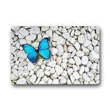 YESLIY Custom Waschmaschine gewaschen Fußmatte blau Schmetterling auf weiß-Steine Fußmatte 59,9x 39,9cm