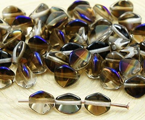 50pcs Cristal Clair Métallisé Bleu Azure Noir la Moitié de grosse Pincée Bicone Facettes en Verre tchèque Perles d'Entretoise de 7mm