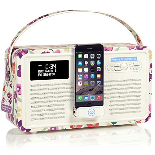 VQ Retro Mk II DAB/DAB+ Digital- und FM-Radio mit Bluetooth, Lightning Dock und Weckfunktion - Emma Bridgewater Wallflower - Iphone-dock Cd-player Mit
