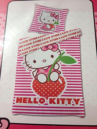 Bettwäsche Hello Kitty auf der Erdbeere Bezug 135x200cm Kissen 80x80cm Wendebettwäsche Renforcé 50% Baumwolle 50% Polyester