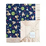 My Blankee Oh Deer Midnight Minky Dotted Blankets, Tan, 14'' x 17''