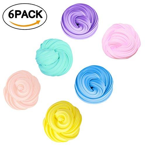 Slime Fluffy - Fumum DIY Super Light Clay Foam para Niños y Adultos - Súper Suave y No Tóxic(6 Pack)