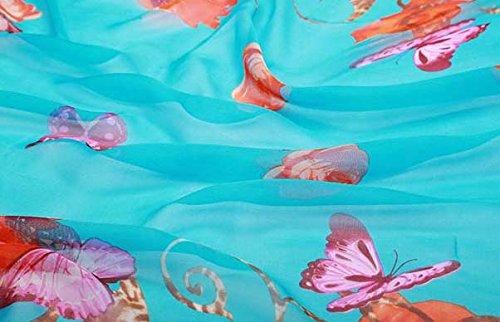 Helan femmes Réel Soie Naturelle 180 X 110 cm Emballage d'été Foulards longs Light Blue Floral