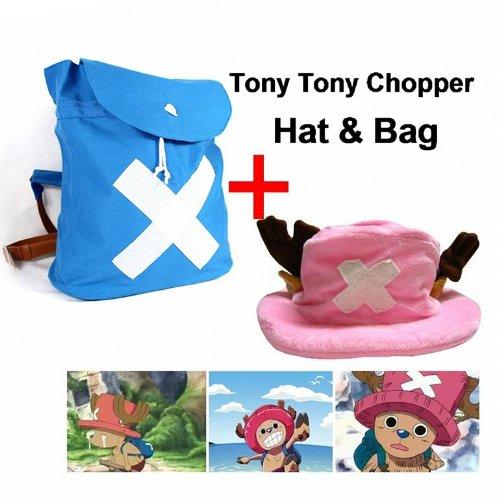 Sunkee One Piece Cosplay Tony Tony Chopper Rucksack und Hut -