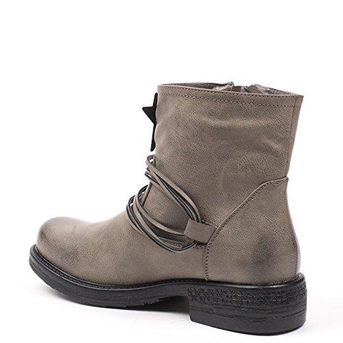 Ideal Shoes Bottines en Similicuir Décorées D'Étoiles Mialy Gris