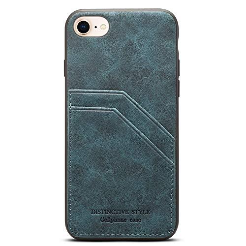 Schutzhülle für Apple iPhone 8 Plus, schmal, dünn, PU-Leder, mit 2 Kreditkartenfächern für Apple iPhone 7 + 5,5 Zoll, Cadet Blue -