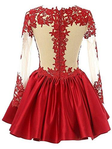 JAEDEN Femmes Manches longues Robes de bal Court Satin Robe de soiree Robe de mari¨¦e Rouge