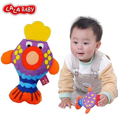 Baby Kleinkind Stoffspielzeug Ring Rasseln Beißring Süße Tiere Glocken Trainning ab 6 Monate Geschenk,Karikatur Fisch