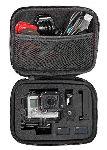 Shoot® Case für GoPro Hero 4 / 3+ / 3 / 2 / 1 - Tasche für Kamera, Gehäuse, LCD, Akku, SD Karte und Zubehör Universal (Größe: S , Utensilienfach mit Zipper und Trageriemen)