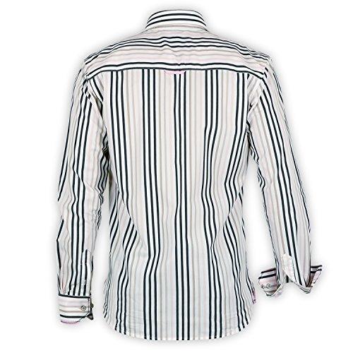 Herren Hemd Shilton gestreift Langarm Weiß - weiß