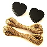 LWR Crafts 100 Hang Tags Scalloped Heart with Jute Twines 100ft (2 1/2' x 2 3/8', Black)