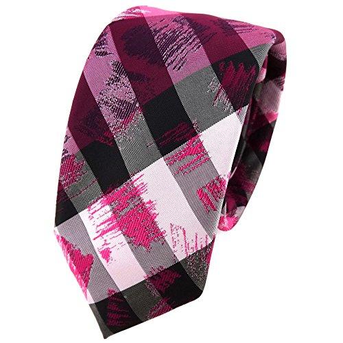Schmale TigerTie Krawatte in bordaux pink rosa grau silber schwarz gestreift (Schwarz Und Rosa Krawatte)