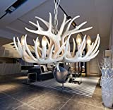EFFORTINC Resin Antler Kronleuchter weiß Antler Kronleuchter Wohnzimmer Esszimmer Einfache Installation (6 Lights)