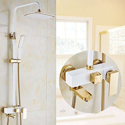 Mangeoo Im europäischen Stil Kupfer dusche wc, Booster, goldenen Wasserhahn, Dusche Düse, heißer und kalter Dusche, Badezimmer Set, White Cube -