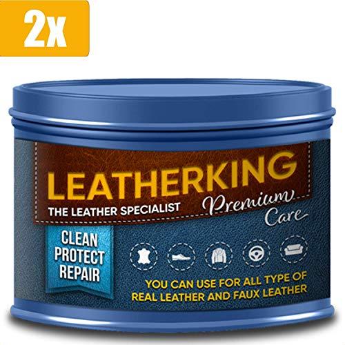 LeatherKing - Natürliche Anti-Aging Lederpflege, 350ml | Lederbalsam für Auto, Lederjacke, Handtaschen, Ledercouch, Schuhe, Pferde Sattel und vieles mehr - Premium Lederfett (2 Dosen)