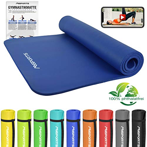 MSPORTS Gymnastikmatte Premium | inkl. Übungsposter | Hautfreundliche - Phthalatfreie Fitnessmatte - Königsblau - 190 x 100 x 1,5 cm | Yogamatte
