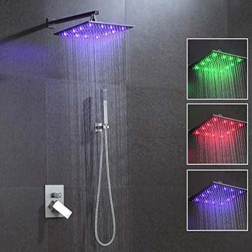 Ducha de lluvia 300 x 300 mm RGB, ducha para techo, termostato,...