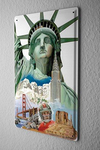 LEotiE SINCE 2004 Blechschild Welt Reise USA Freiheitsstatue Mount Rushmore Wand Deko Schild 20X30 cm