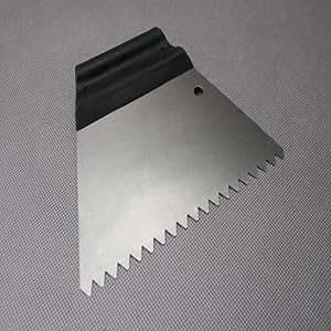 Spatule colle - Spatule forme trapèze - Spatule crantée ? 6mm - avec manche plastique - Largeur : 180mm, N°Réf. 518