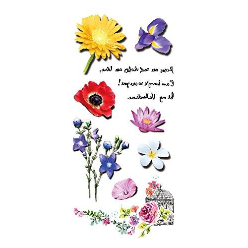 Oottati 3D Schulter Temporäre Tattoo Blume Duft Von Lotus Sun Love Poetry Zitat (Set mit 2)