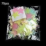 Pudincoco 70 PCS 3.8 CM Autocollant Mural Étoile Lumineuse Lumineux Fluorescent 3D Enfants Plafond Maison Maison Endroit Sombre Étoile Stickers Muraux