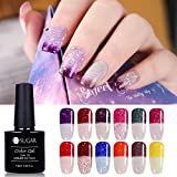 UR SUGAR 0.26oz Temperatur Farbwechsel UV-Gel Nagellack Set Soak Off Magic Thermo Mood Chameleon Gel poliert UV-LED-geheilt Gel 12 Farben Set