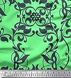 Soimoi Vert Mousse Georgette en Tissu Feuilles et filigrané Damasse Tissu a Coudre Imprime par Metre 42 Pouce Large