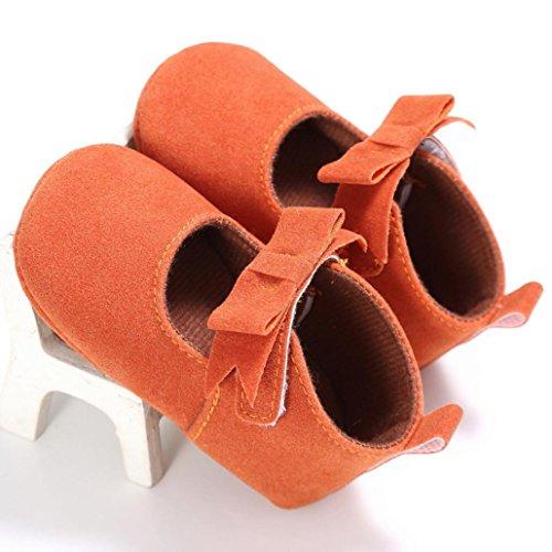 Saingace Krabbelschuhe,Kleinkind Mädchen Krippe Schuhe Neugeborene Blume Soft Sohle Anti-Rutsch Baby Sneakers Orange