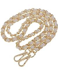 MagiDeal Metal + Leather Purse Shoulder Bag Chain Strap Handle Handbag Bag Chain Replacement 120cm - gold+white