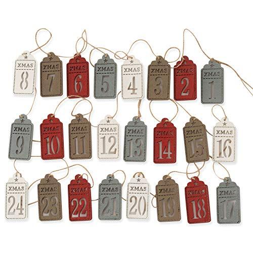 QILICZ 24 Adventskalender-Zahlen Holz Anhänger Etiketten 8x4cm Adventskalenderzahlen 1 bis 24 Zahlen zum Selber basteln Mit klammern und Jute Seil für Weihnachtskalender Weihnachtsdekoration
