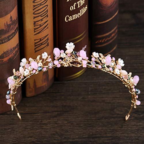 WUDUHUI Diademe für Mädchen, Krone Barock Braut Gold Rosa Schmetterling Blume Kristall Geburtstag Weibliche Kopfschmuck Hochzeit Erwachsene Krone (30 × 3,5 cm, 63 g)