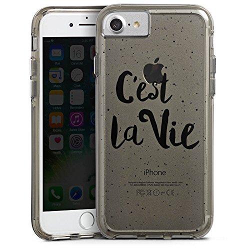 Apple iPhone 8 Bumper Hülle Bumper Case Schutzhülle C'est la vie Spruch ohne Hintergrund Bumper Case transparent grau