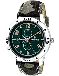 Golden Bell Original Green Dial Green Leather Strap Analog Wrist Watch For Men - GB-912