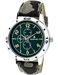 Golden Bell Original Green Dial Green Leather Strap Analog Wrist Watch For Men - GB-912
