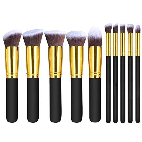 Makeup Brushes, Moon mood® Set di Pennelli per Trucchi, 10 Pezzi per Fondotinta, Fard, Ombretto, Cipria, Creme, Eyeshadow Blush Eyeliner Cosmetic Foundation Make up Brushes