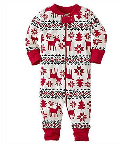 Pyjamas de Noel Famille Garçon Fille du Nouveau-né Bébé Pyjamas à Deux Pièces Set Sweat-shirt à Manches Longues Top et Pantalon Sleepwear Ensemble Snowflake Vêtement de Nu