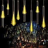 Cadena de Luces LED,SUAVER Impermeable luces de lluvia Meteoros solar 30cm 10 tubo 360LEDs Luces de jardín decorativas,Cadena para Fiesta de Boda de Decoración del árbol de Navidad (Cálida Blanco)