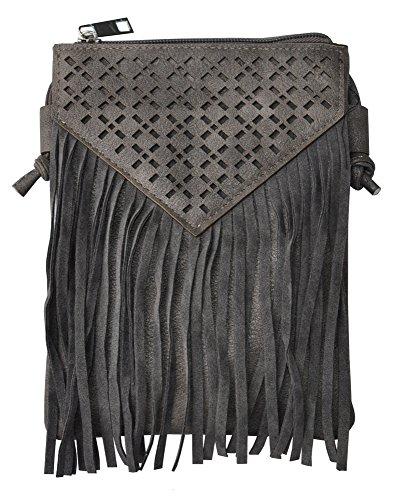 Trachtentasche Dirndltasche Mini Tasche Ethno Fransen Cutout Muster 024 Dunkelgrau
