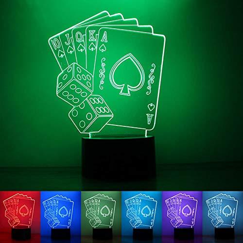 3D-Illusion Spielkarten 7 farben nachtlicht, Zuhause Schlafzimmer Büro USB-betrieben LED-Beleuchtungstastentischlampe, Beleuchtungsdekorationfestival des Kinderzimmers / Geburtstagsgeschenk