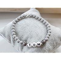 Namensarmband silber farben grau matt mit Herz individuell Wunschname Junge Taufe Kommunion Geburt Kind personalisierbar Kinderarmband Wunschname