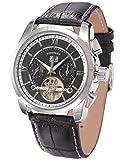 EASTPOLE Herren Armbanduhr Automatik Mechanische Schwarze Armband aus Leder mit Datumanzeige + EASTPOLE Geschenkbox PMW375