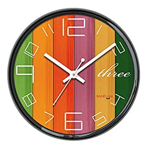 Random Perfect Round Plastic Wall Clock (28 cm x 28 cm x 5 cm, Black)