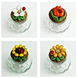 DLM26577 (kit 12 pezzi) Barattolo in Vetro con Margherita Fiore Girasole Tulipano e Coccinella Portafortuna bomboniera