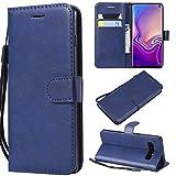 Galaxy S10 Hülle, Leder Tasche Handyhülle Flip Wallet Schutzhülle für Samsung Galaxy S10 mit Ständer und Kartenfächer/Magnetverschluss#R (Blau)